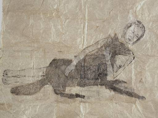 Kiki Smith, <i>Lying with the Wolf</i>, 2001